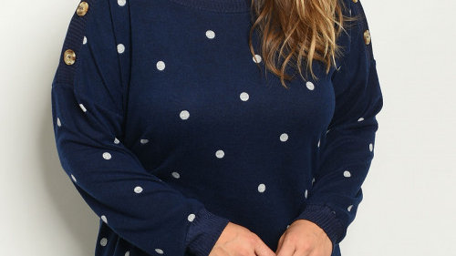 Navy Polka Dot Sweater