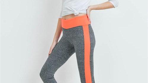 Neon Orange & Charcoal Leggings
