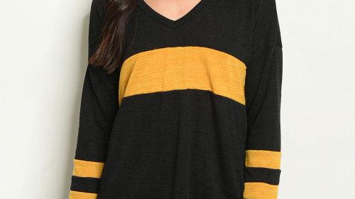 Black and Mustard V-Neck Sweater