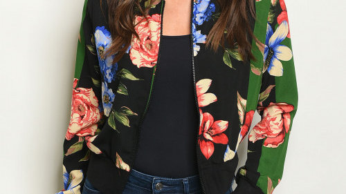 Black and Green Floral Lightweight Jacket