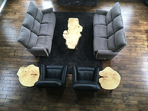 Aerial view of spruce burl living room set