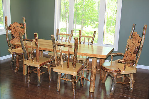 White Ash dining table with black ash legs and matching rustic chairs