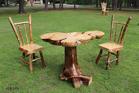 Spruce burl mini dining table with black spruce root base