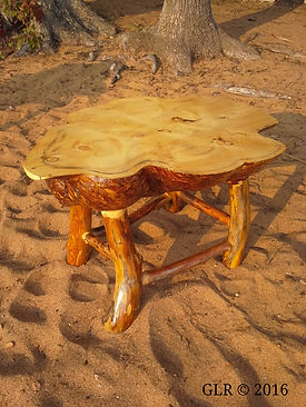 Spruce burl coffee table with aged black ash legs