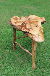 Maple burl accent table with ironwood legs