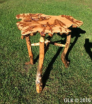Maple burl accent table with black ash legs