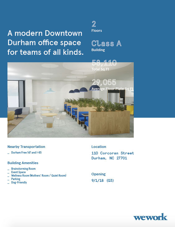 WeWork One-Pager, side B