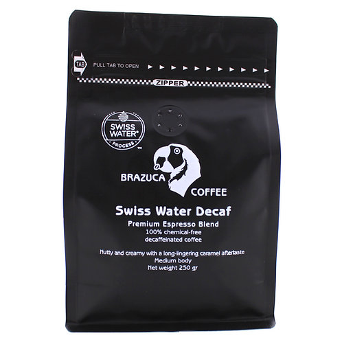 Swiss Water Decaf - nutty and creamy.