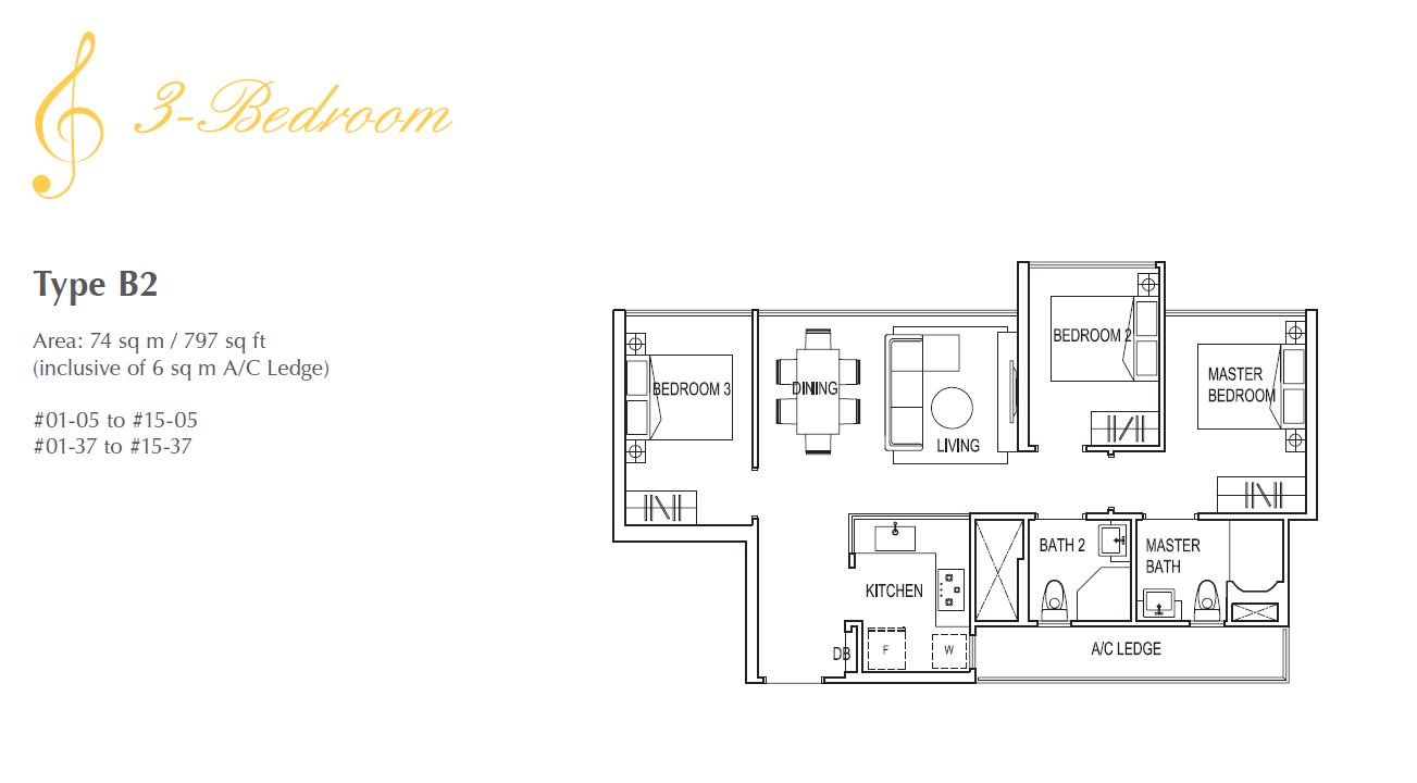 Symphony Suites 3BR Floorplan B2 797sqft