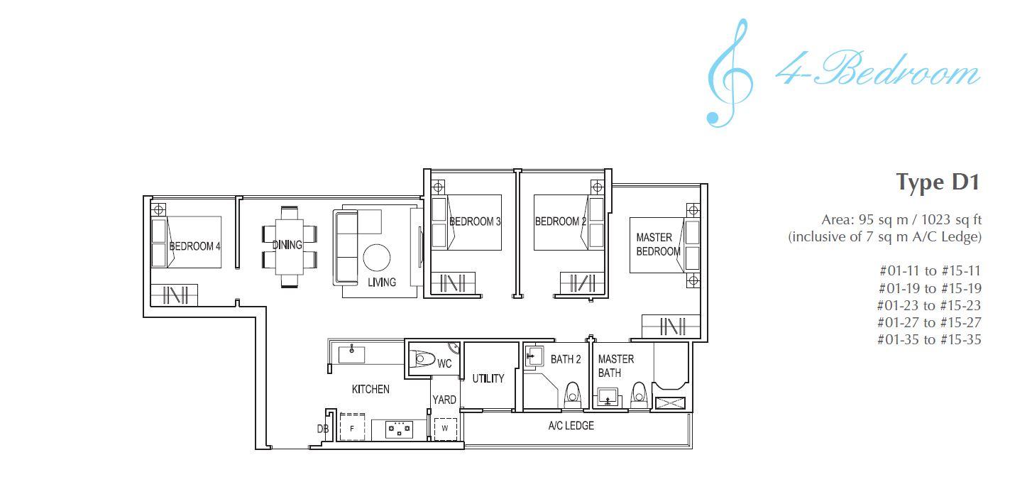 Symphony Suites 4BR Floorplan D1 1023sqft
