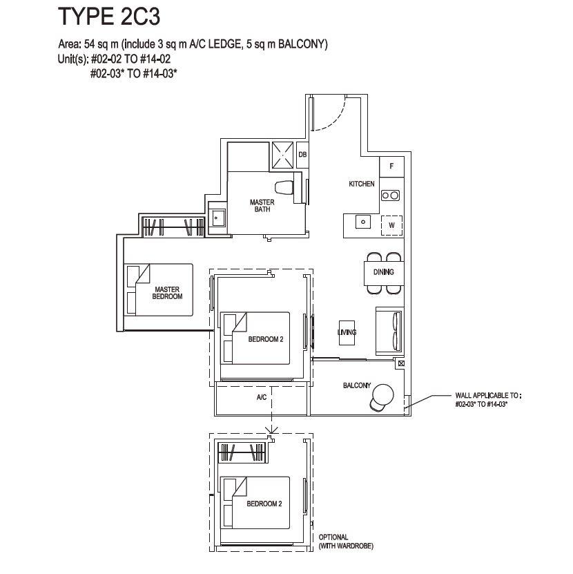Grandeur Park Residences Floorplan 2BR Compact  2C3  54sqm