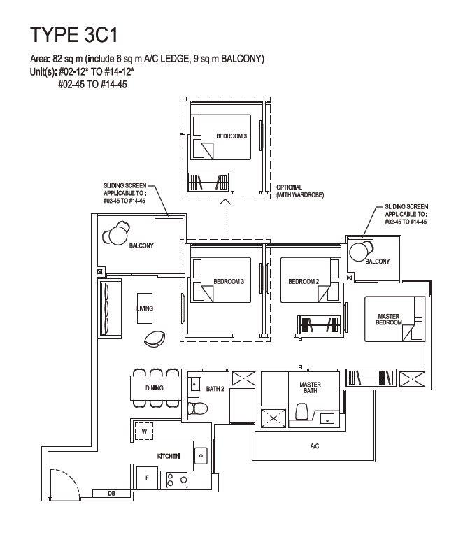 Grandeur Park Residences Floorplan 3BR Compact  3C1  82sqm