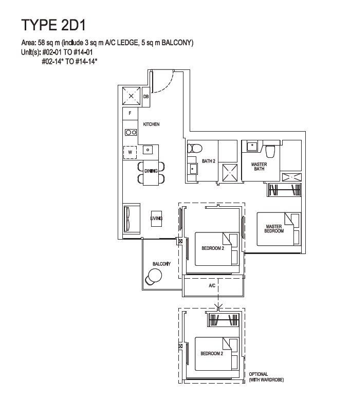 Grandeur Park Residences Floorplan 2BR Deluxe  2D1  58sqm