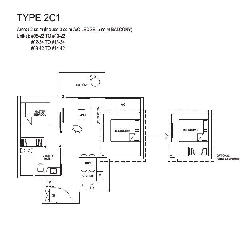 Grandeur Park Residences Floorplan 2BR Compact  2C1  52sqm