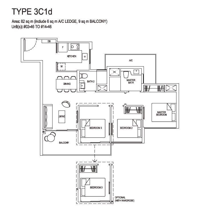 Grandeur Park Residences Floorplan 3BR Compact  3C1d  82sqm