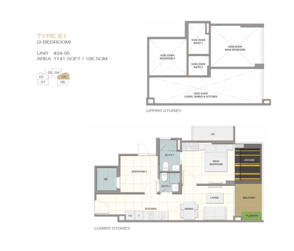 Forte Suites Type E1 2BR 1141sf