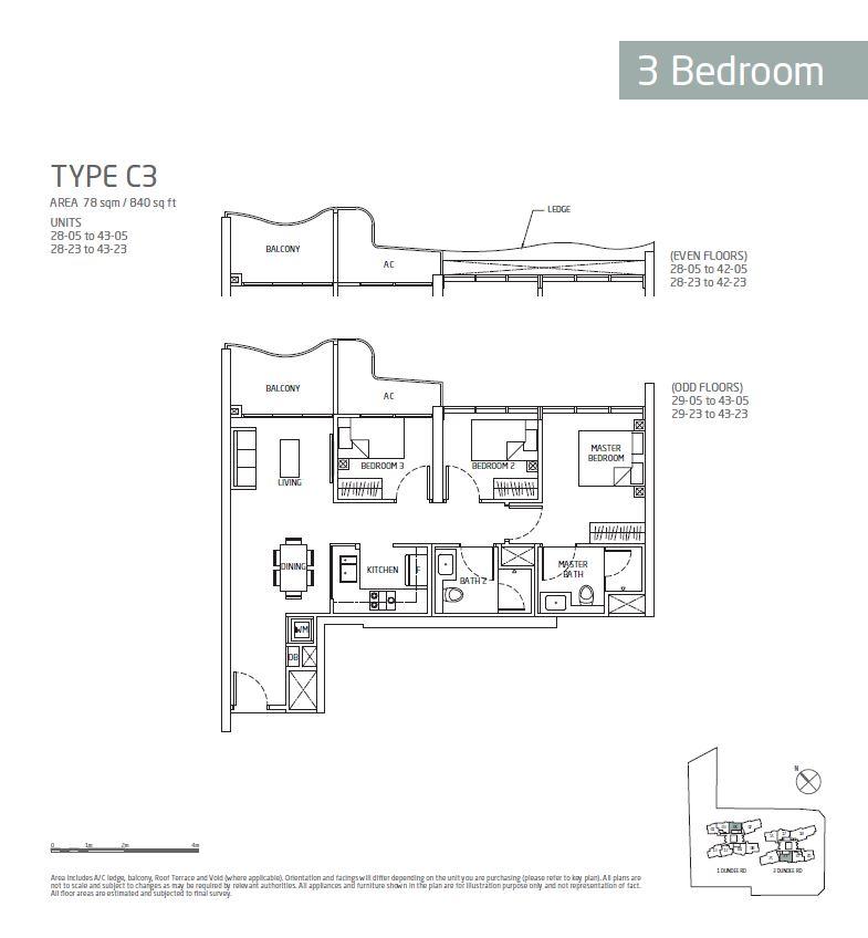Queens Peak 3BR C3 Floorplan