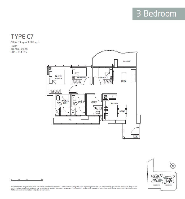 Queens Peak 3BR C7 Floorplan