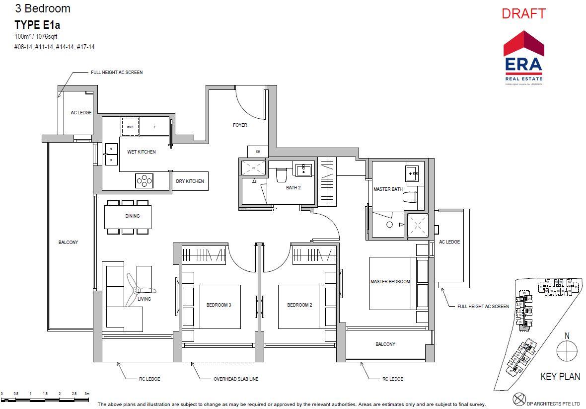 Park Place Residences 3BR E1a 1076sqft