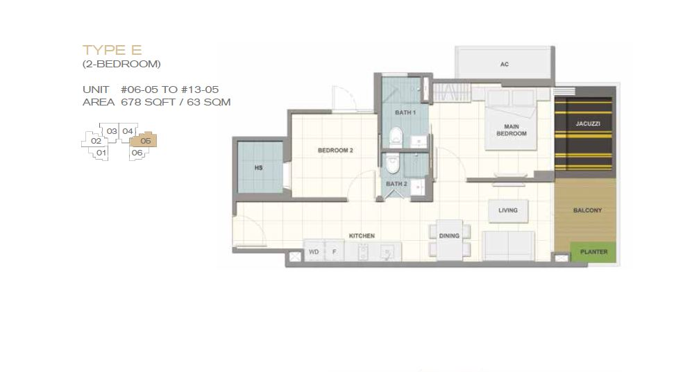 Forte Suites Type E 2BR 678sf