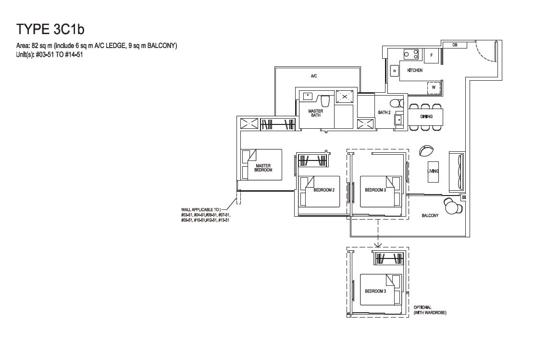 Grandeur Park Residences Floorplan 3BR Compact  3C1b  82sqm
