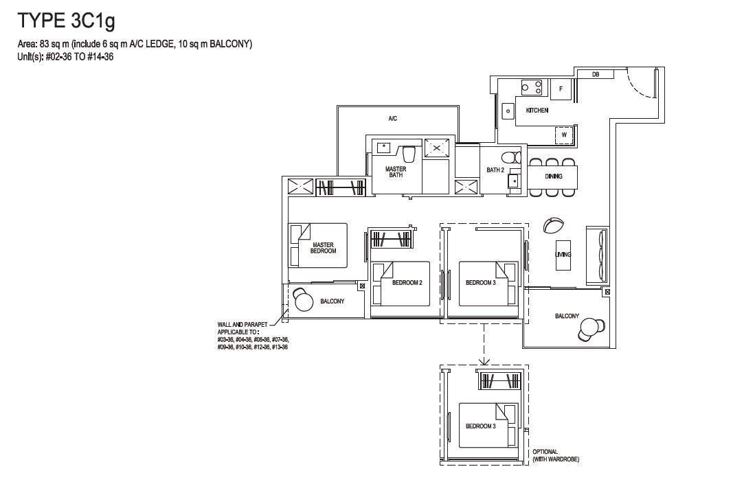 Grandeur Park Residences Floorplan 3BR Compact  3C1g  83sqm