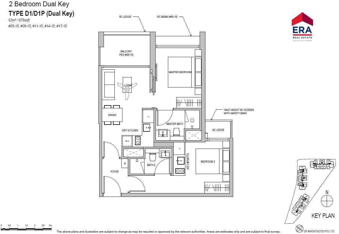 Park Place Residences 2BR Dual Key D1 678qft