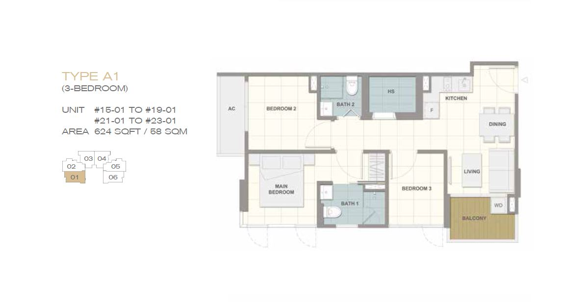 Forte Suites Type A1 3BR 624sf