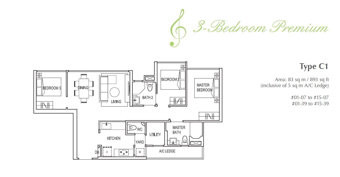 Symphony Suites 3BR Premium Floorplan C1 893sqft
