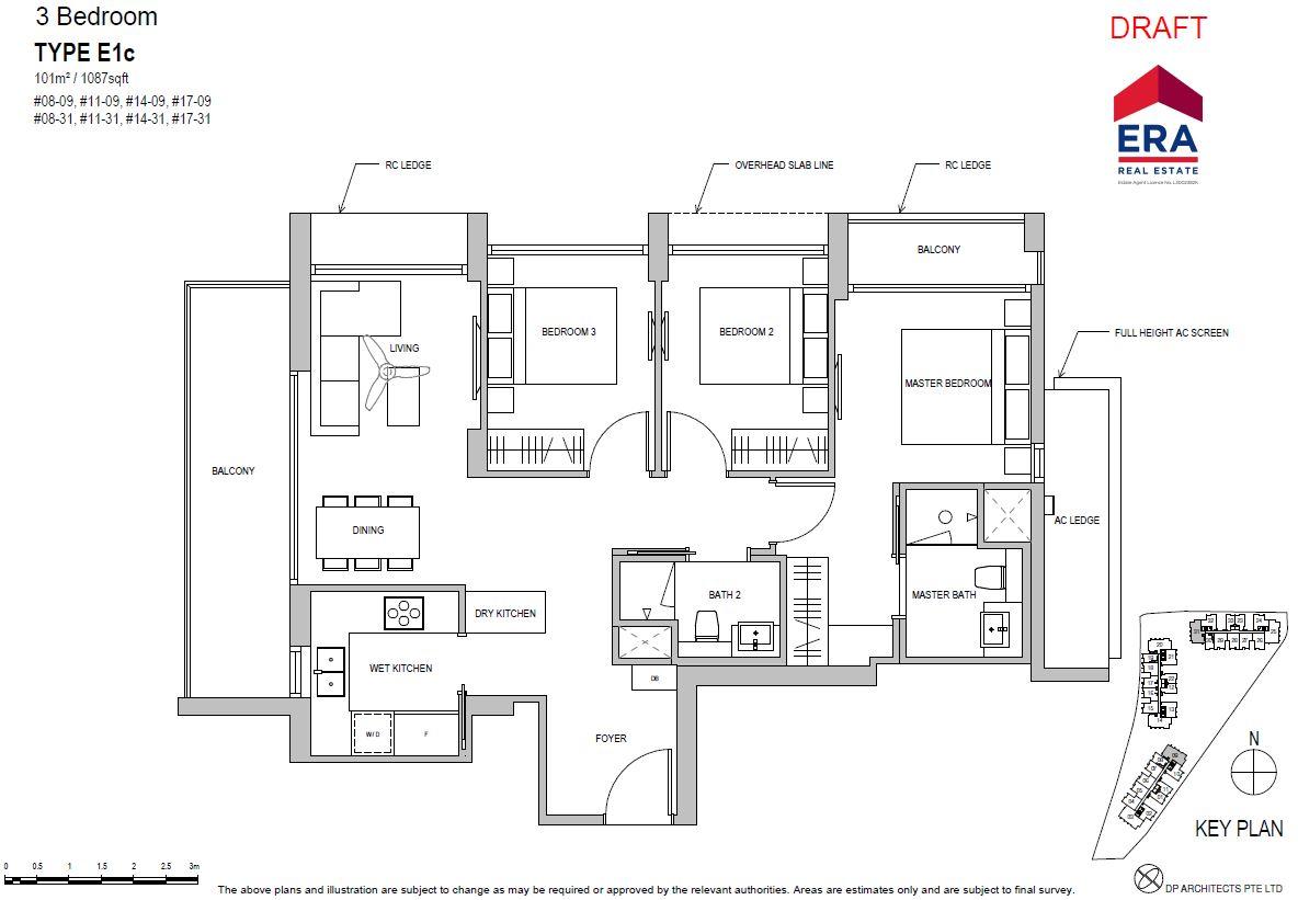 Park Place Residences 3BR E1c 1087sqft