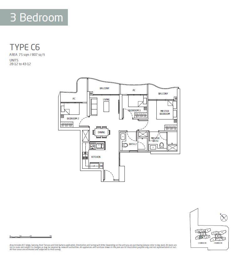 Queens Peak 3BR C6 Floorplan