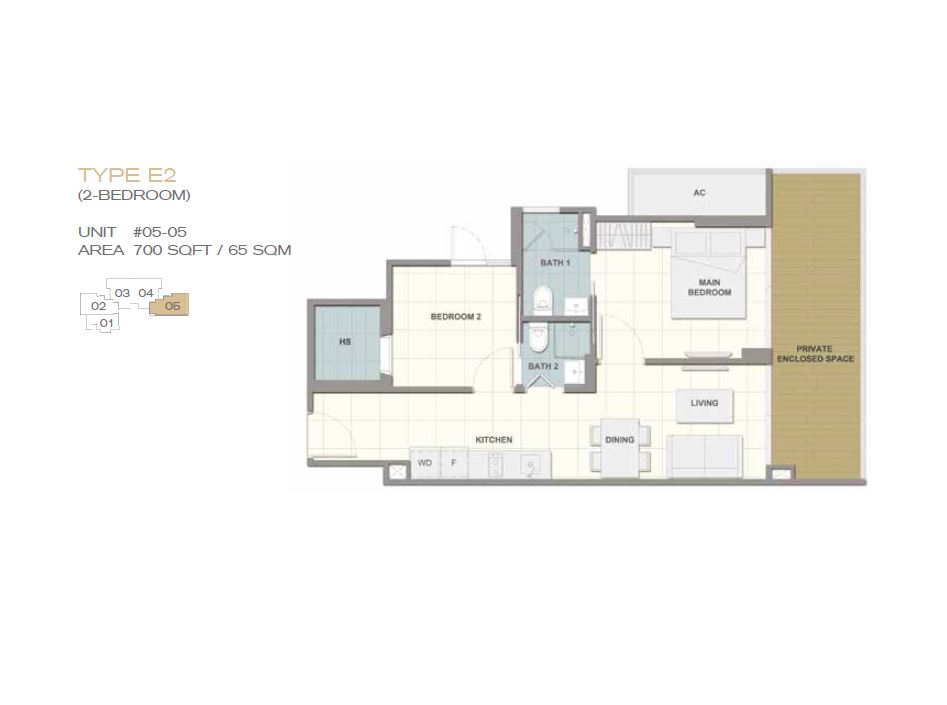 Forte Suites Type E2 2BR 700sf