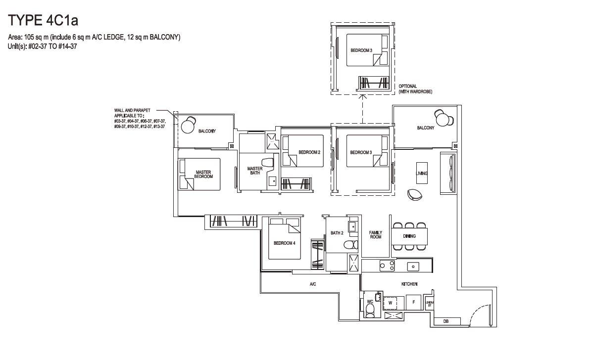 Grandeur Park Residences Floorplan 4BR Compact  4C1a  105sqm