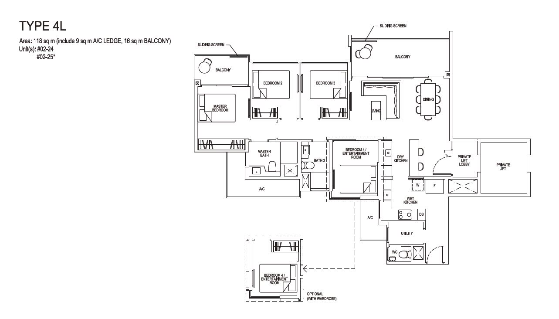 Grandeur Park Residences Floorplan 4BR Premium  4L 118sqm