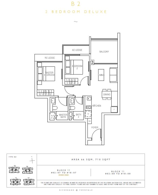 Riverbank at Fernvale 2BR Deluxe  B2  710sqft