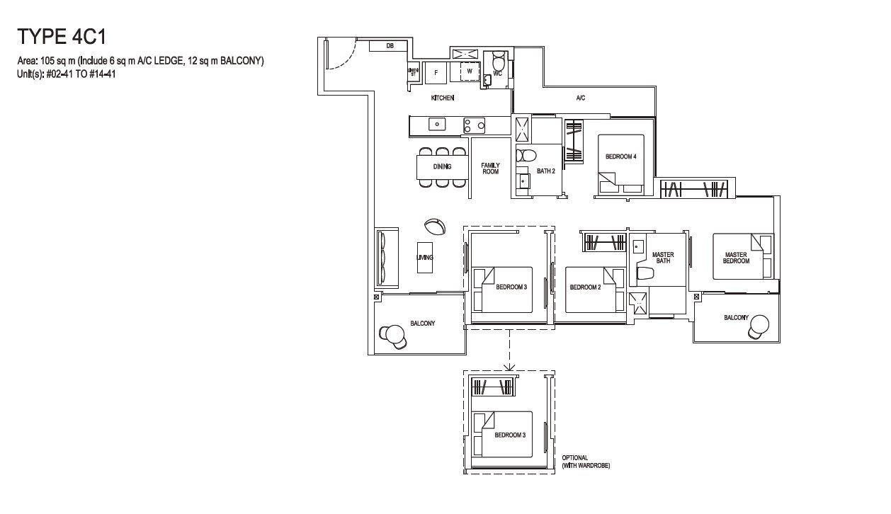 Grandeur Park Residences Floorplan 4BR Compact  4C1  105sqm