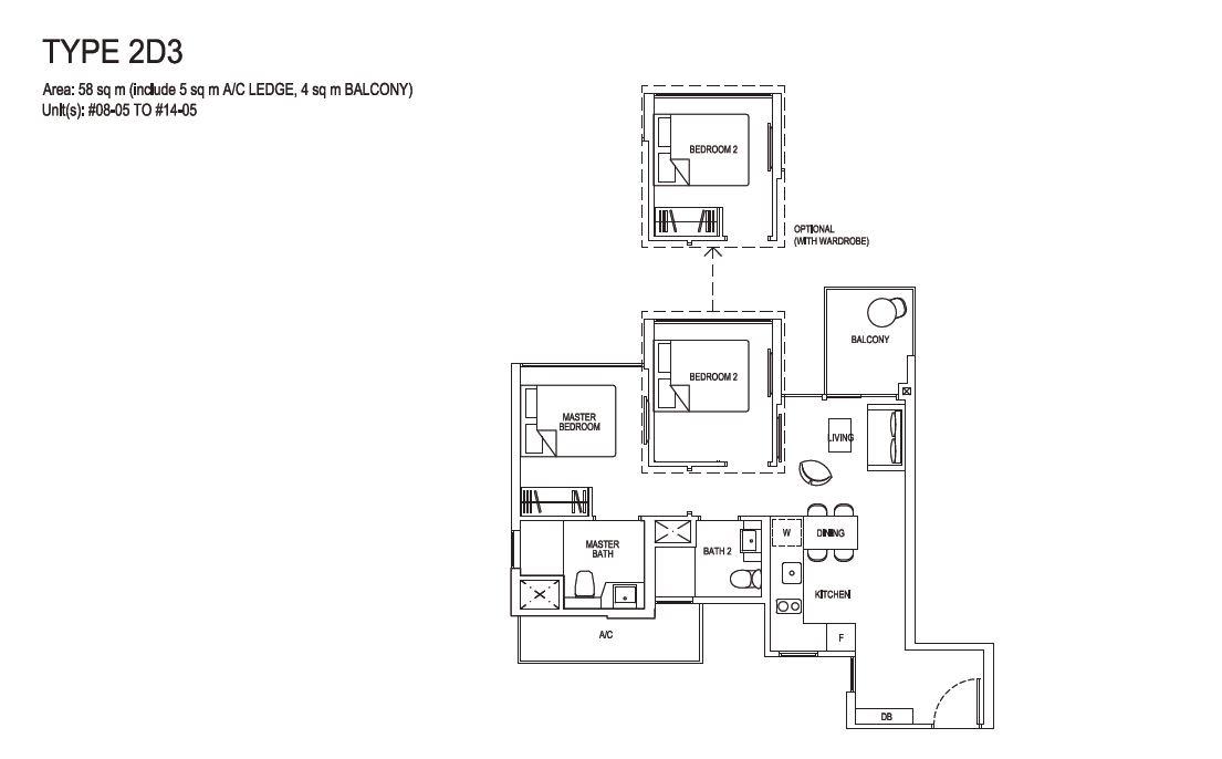 Grandeur Park Residences Floorplan 2BR Deluxe  2D3  58sqm