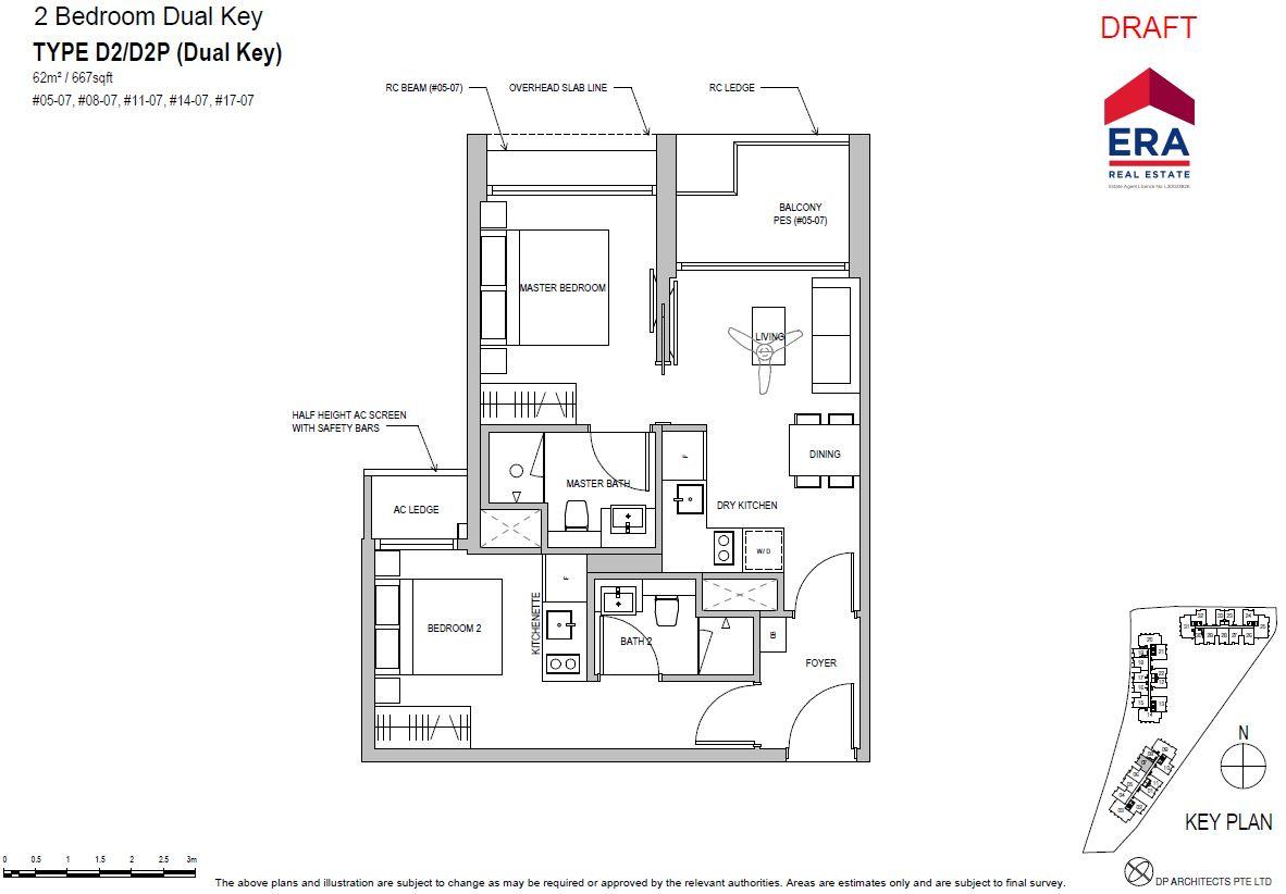 Park Place Residences 2BR Dual Key D2 667qft