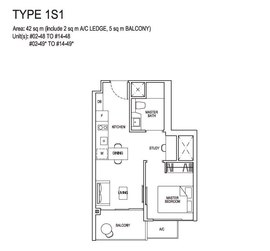 Grandeur Park Residences Floorplan 1BR+S  1S1 42sqm