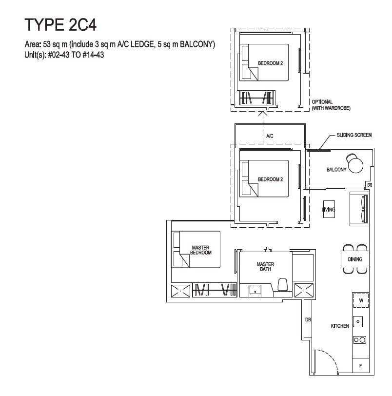 Grandeur Park Residences Floorplan 2BR Compact  2C4  53sqm