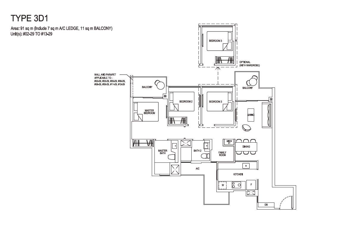 Grandeur Park Residences Floorplan 3BR Deluxe  3D1  91sqm
