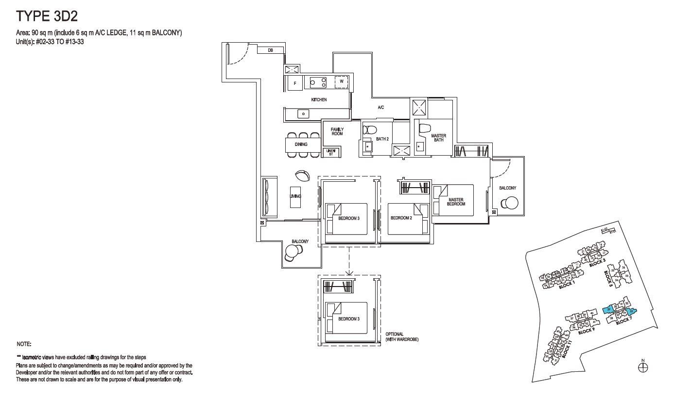 Grandeur Park Residences Floorplan 3BR Deluxe  3D2  90sqm