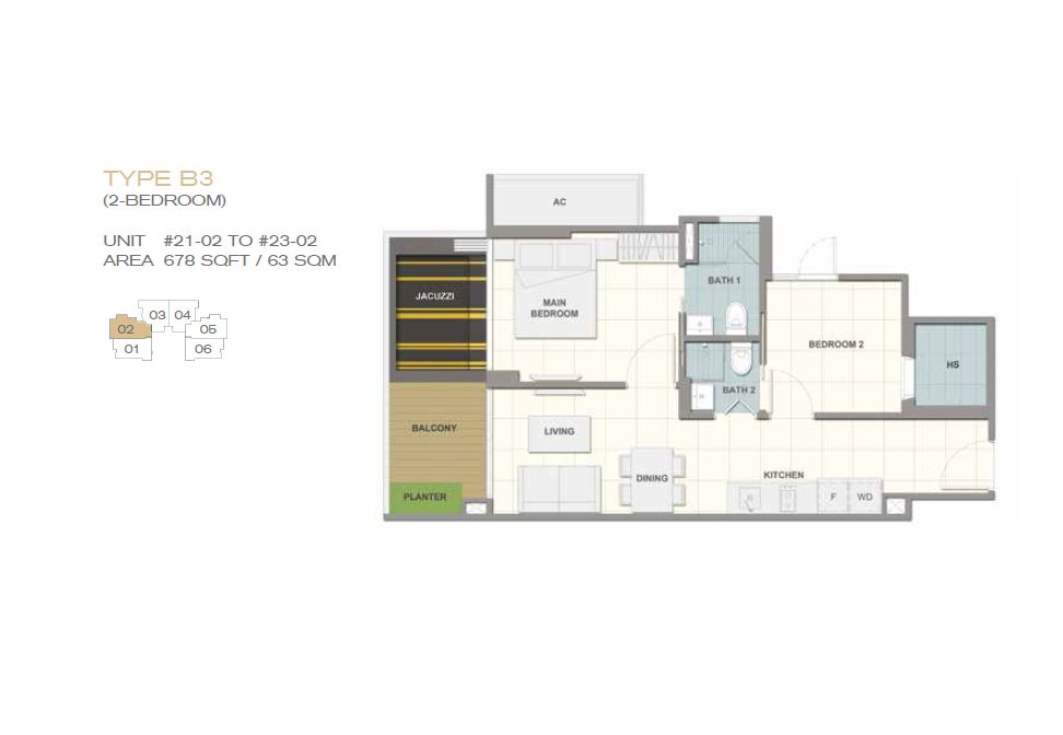 Forte Suites Type B3 2BR 678sf