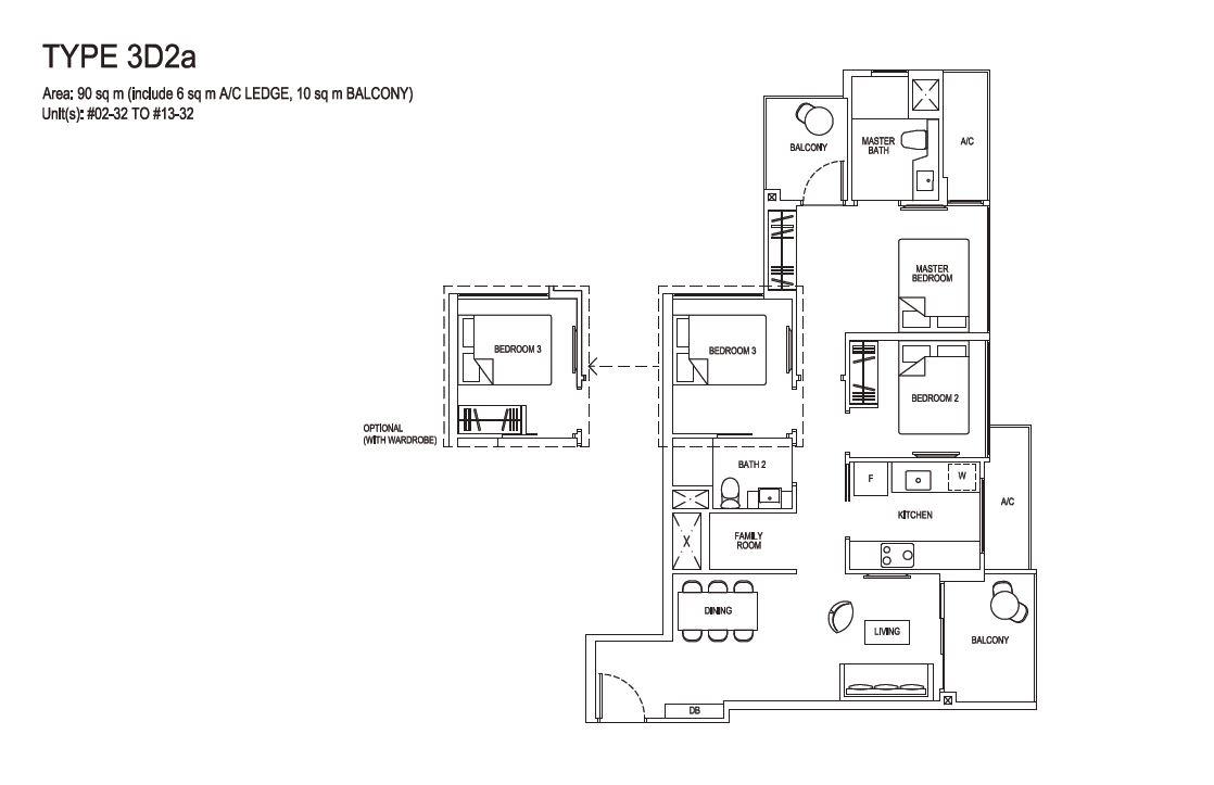 Grandeur Park Residences Floorplan 3BR Deluxe  3D2a  90sqm