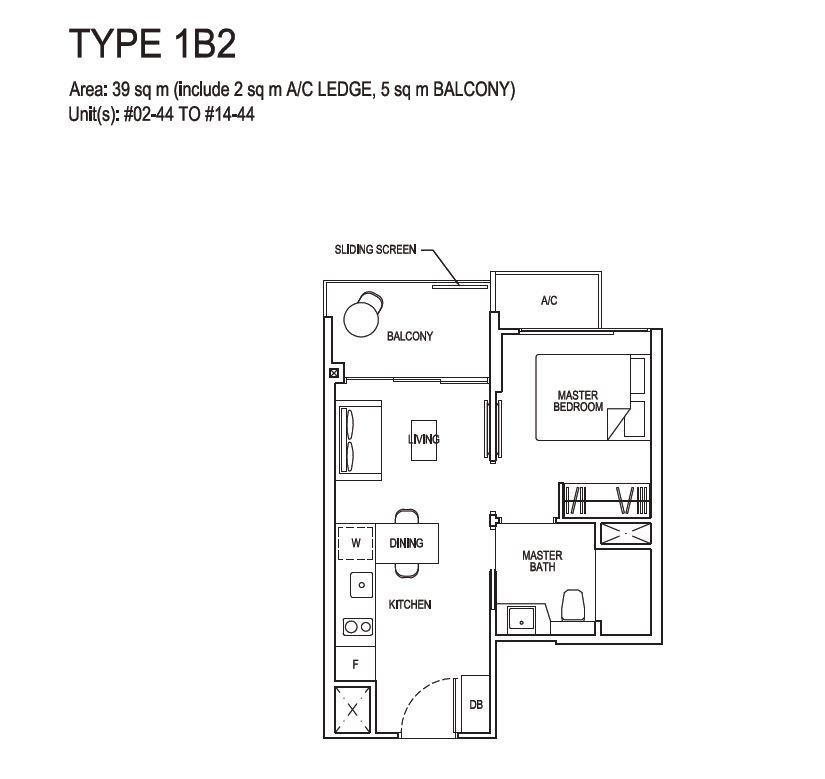Grandeur Park Residences Floorplan 1BR 1B2 39sqm