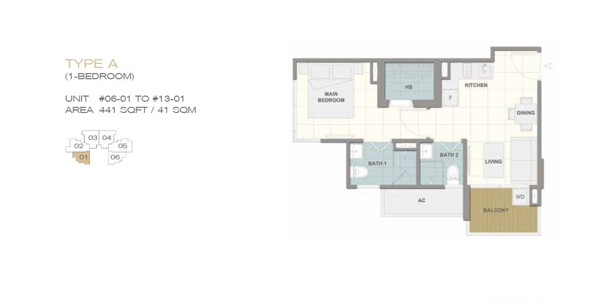 Forte Suites Type A 1BR 441sf