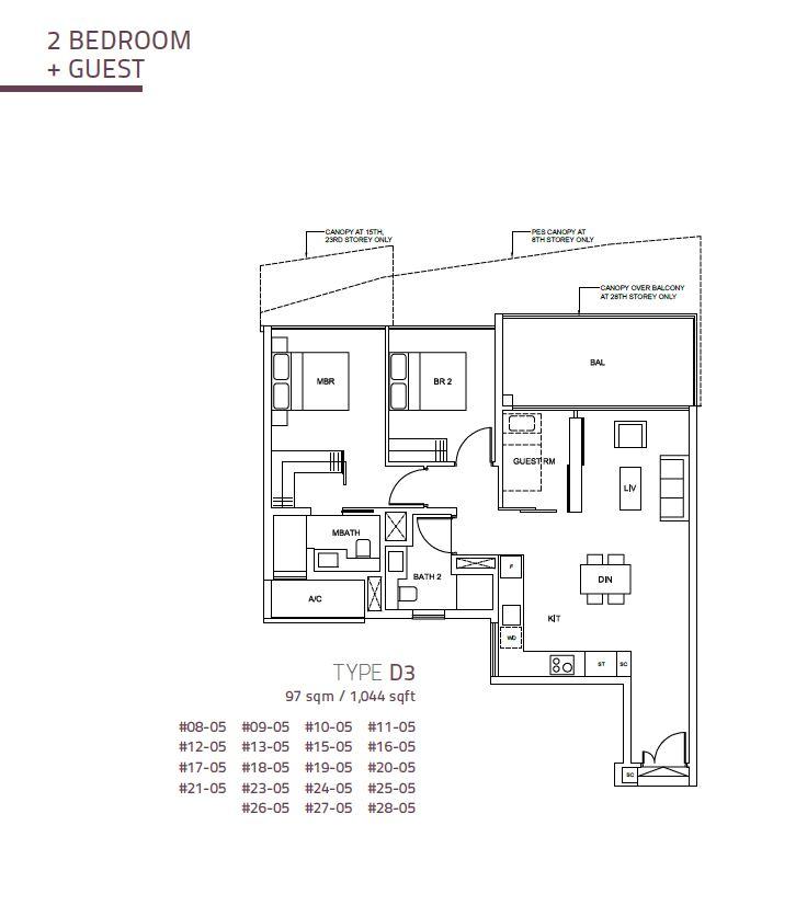 Cairnhill Nine 2BR+G  D3 1044sqft