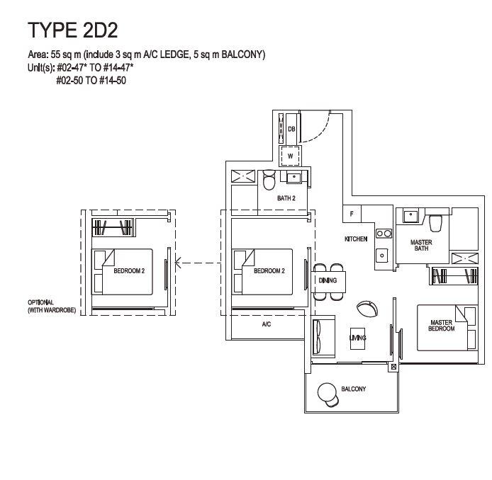 Grandeur Park Residences Floorplan 2BR Deluxe  2D2  55sqm
