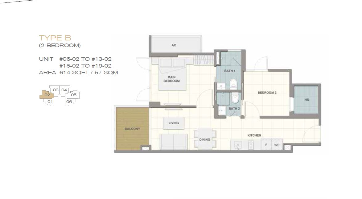 Forte Suites Type B 2BR 614sf