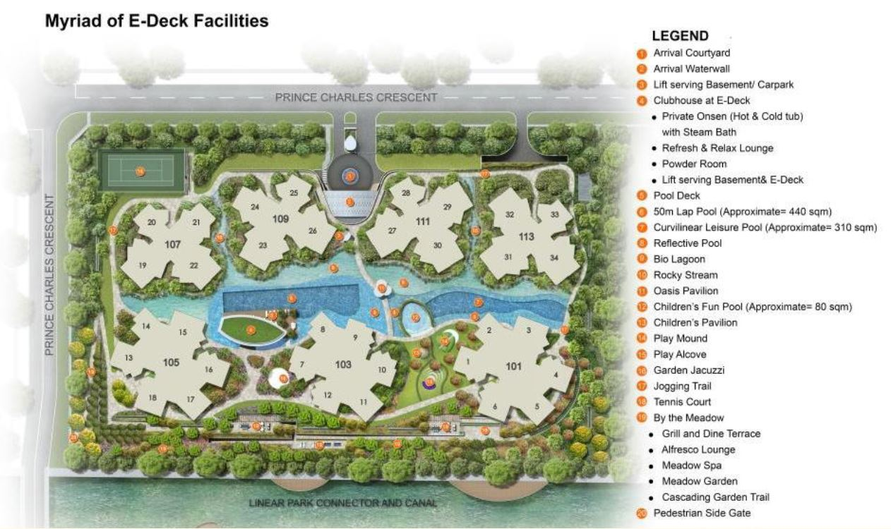 Site Plan with Facilities The Crest _ Prince Charles Facade 82230028
